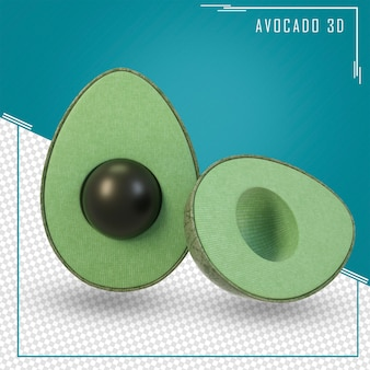 Renderowanie 3d zielonego owocu awokado