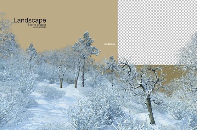 Renderowanie 3d zimowa sceneria drzewa