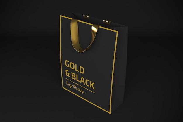 Renderowanie 3d złota i czarna torba