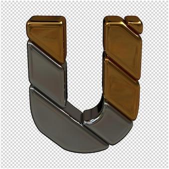 Renderowanie 3d złote i srebrne litery letter