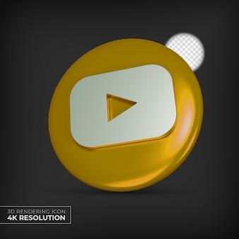 Renderowanie 3d złotego logo youtube