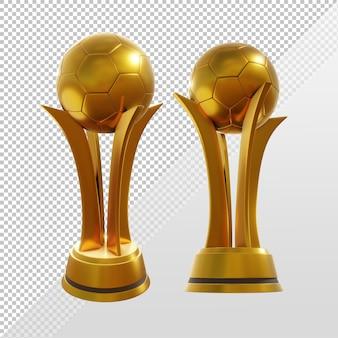 Renderowanie 3d złotego trofeum w piłce nożnej mecz w perspektywie meczu
