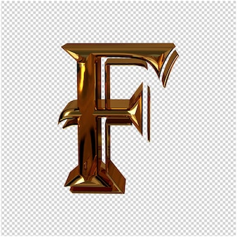 Renderowanie 3d złotej litery