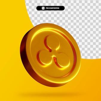 Renderowanie 3d złotej monety na białym tle