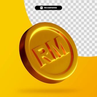 Renderowanie 3d złotej monety ringgit na białym tle