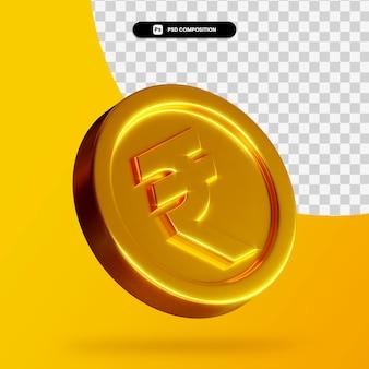 Renderowanie 3d złotej rupii na białym tle