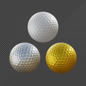 Renderowanie 3d złotej, srebrnej i czystej piłki golfowej w normalnym kolorze