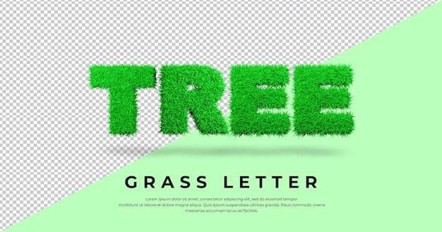 Renderowanie efektu litery trawy drzewa