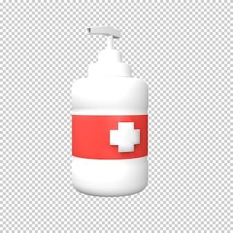 Renderowanie ilustracji 3d butelki odkażacza do rąk