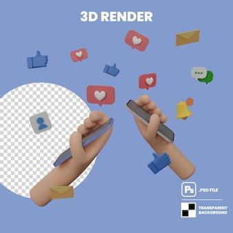 Renderowanie ilustracji 3d kreskówka ręka trzyma telefon komórkowy, aby komunikować się w mediach społecznościowych