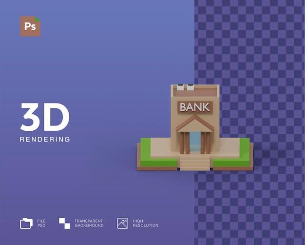 Renderowanie ilustracji budynku banku 3d