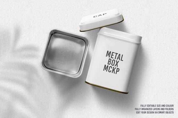 Renderowanie makiety projektu z metalowym pudełkiem