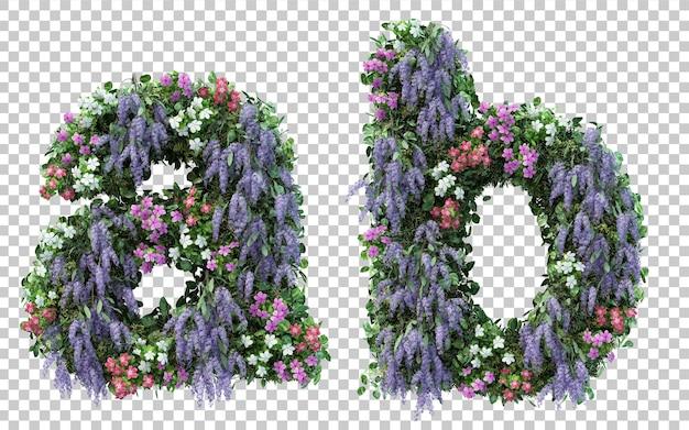 Renderowanie pionowego alfabetu kwiat ogród ai alfabet b na białym tle