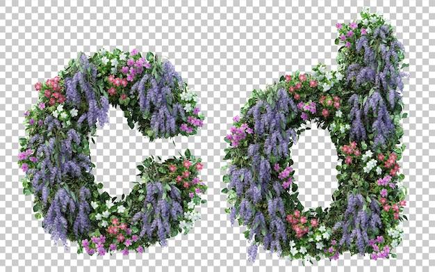 Renderowanie pionowego alfabetu kwiat ogród c i alfabet d na białym tle