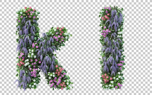 Renderowanie pionowego alfabetu kwiat ogród k i alfabet l na białym tle