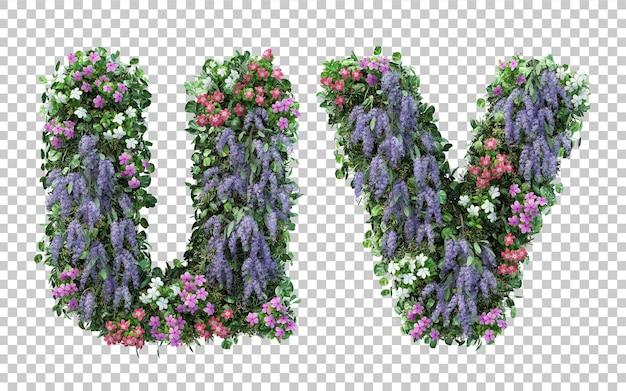 Renderowanie pionowego alfabetu kwiat ogród u i alfabet v na białym tle