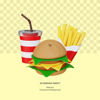 Renderowany obiekt 3d ikona ilustracja fast food