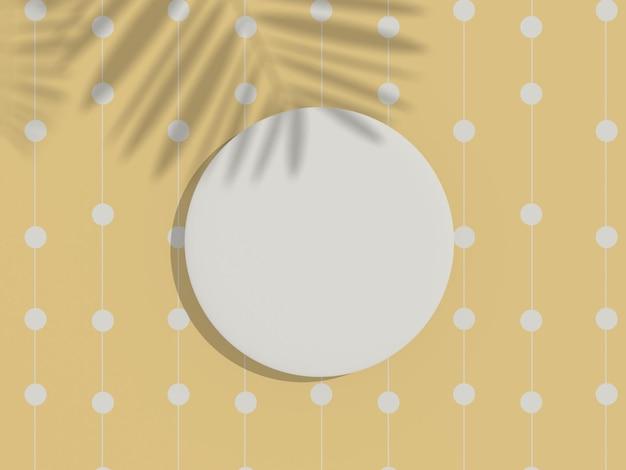 Renderuj 3d widok z góry białej pustej ramy cylindra do makiety i wyświetlania produktów