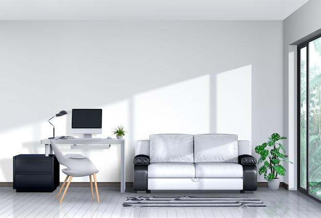 Renderuj 3d wnętrze przestrzeni roboczej salonu z sofą, komputerem stacjonarnym i makiety pustym plakatem