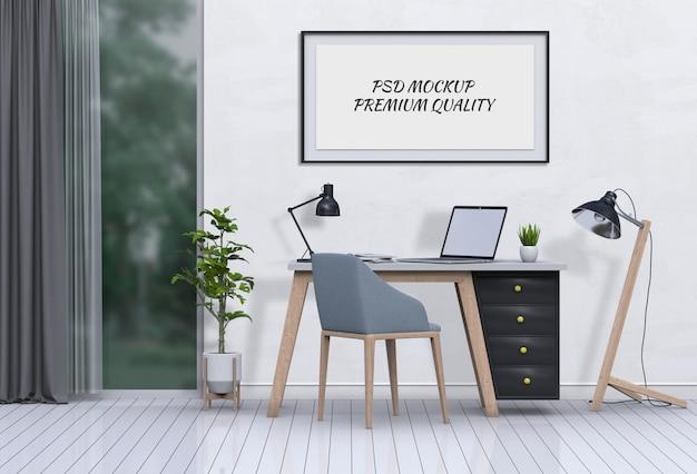 Renderuj 3d wnętrze salonu obszar roboczy z laptopem i makieta puste plakat