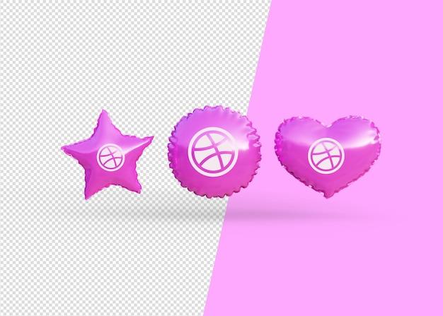 Renderuj balony ikony dryblingu na białym tle