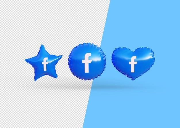 Renderuj balony ikony facebooka na białym tle