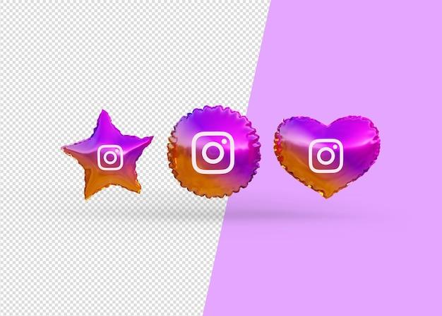 Renderuj balony ikony instagram na białym tle