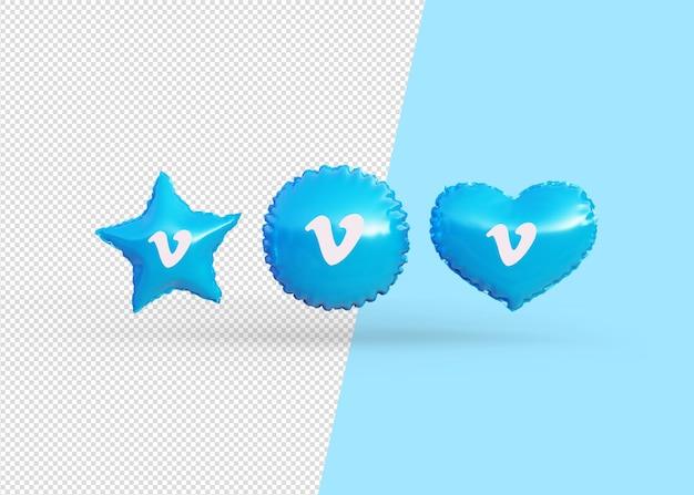 Renderuj balony ikony vimeo na białym tle