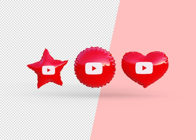 Renderuj balony ikony youtube na białym tle