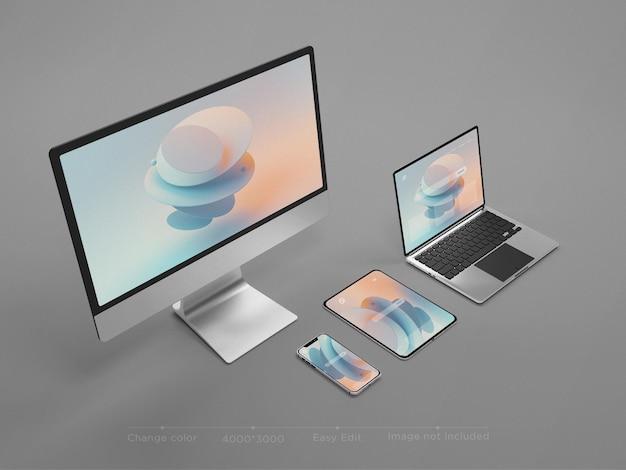 Responsywne urządzenia strony internetowej makieta renderowania 3d