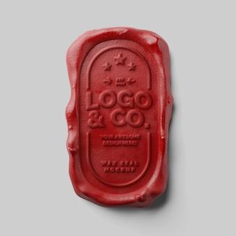 Retro autentyczny pionowy zaokrąglony prostokąt tłoczenie czerwonej pieczęci woskowej makieta z efektem tekstowym