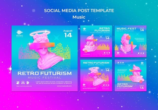 Retro futurystyczna kolekcja postów na instagramie na festiwal muzyczny