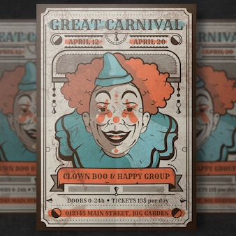 Retro karnawał plakat makieta z klauna