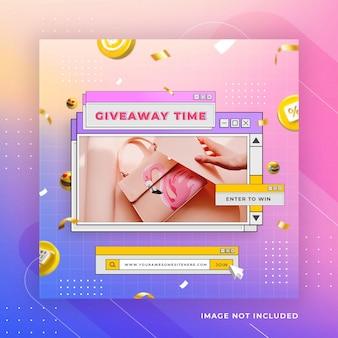 Retro konkurs rozdania nagród w mediach społecznościowych szablon postu na instagramie premium psd