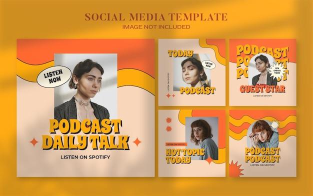 Retro podcast baner społecznościowy i szablon postu na instagram