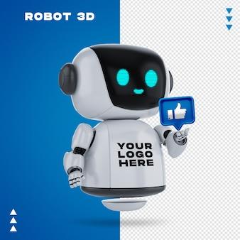 Robot 3d makieta w renderowaniu 3d na białym tle
