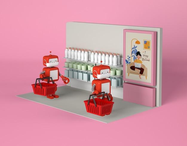 Roboty z maskami medycznymi utrzymujące dystans społeczny przy zakupie rzeczy