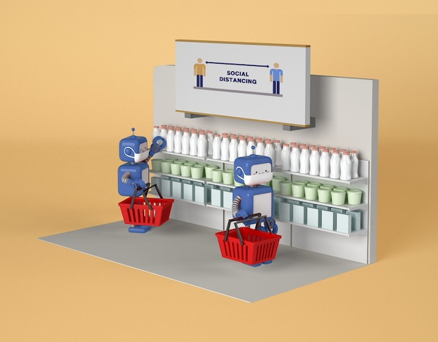 Roboty z maskami medycznymi utrzymującymi dystans społeczny podczas zakupów