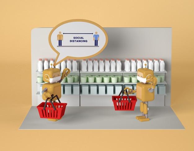 Roboty z maskami utrzymujące dystans społeczny i witające się podczas zakupów