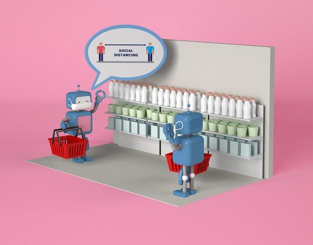 Roboty z maskami utrzymujące dystans społeczny podczas spotkania w sklepie