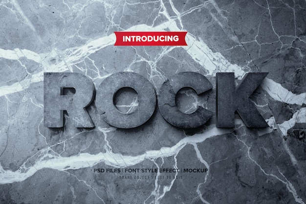 Rockowy efekt tekstowy 3d premium