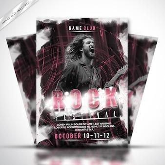 Rockowy plakat lub szablon ulotki festiwalu