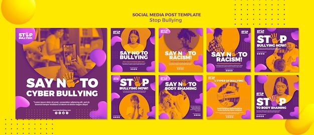Rodzaje szykanowania szablonu postów w mediach społecznościowych