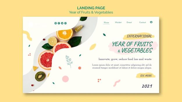 Rok szablonu sieci web owoców i warzyw