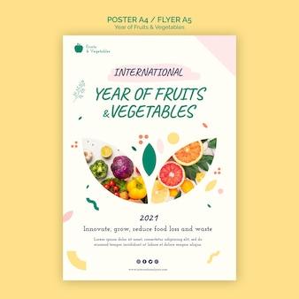 Rok szablonu ulotki owoców i warzyw
