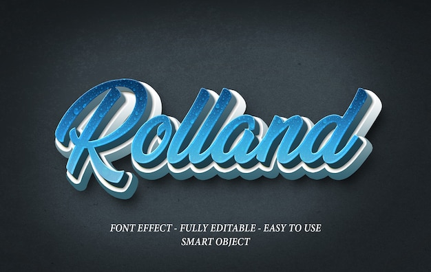 Rolland tekst realistyczny szablon efektu 3d