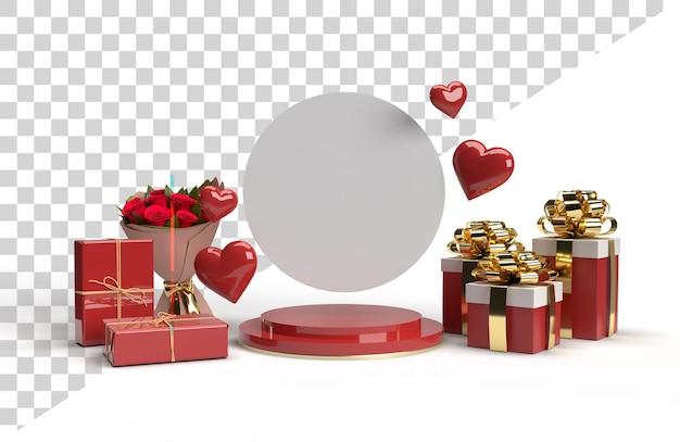 Romantyczna scena sceny 3d na walentynki z prezentem