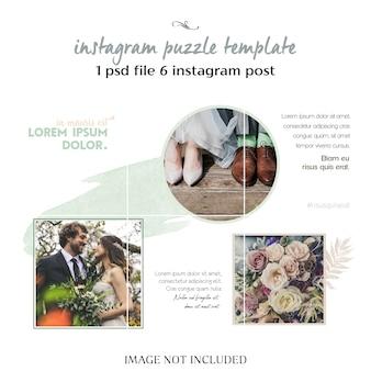 Romantyczny ślub instagram kolaż szablon