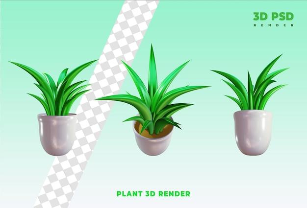Roślin w garnku 3d render ikona odznaka na białym tle