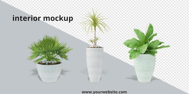 Roślina w doniczce w makiecie renderowania 3d